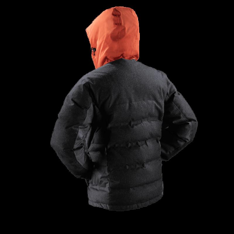 giacca uomo piuma jaam cordura arancione lana quadretto grigio samoa 3 back