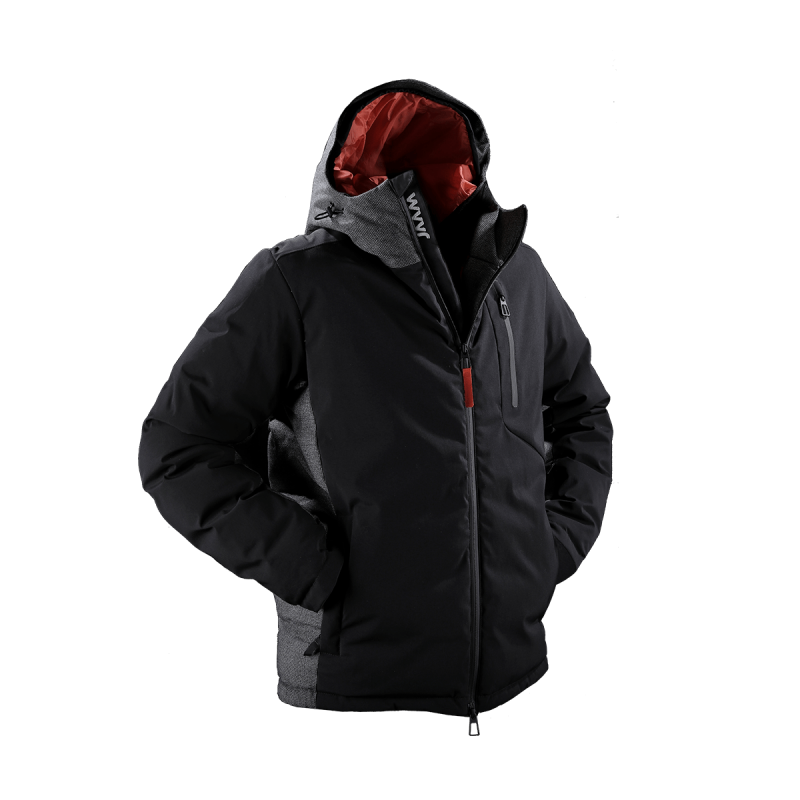 giacca uomo piuma jaam cordura nero lana quadretto grigio samoa 1 front