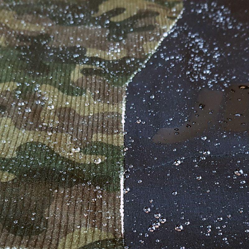 dettaglio pantalone velluto camouflage e cordura jaam